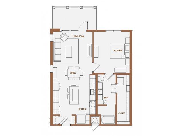880 sq. ft. A4 floor plan