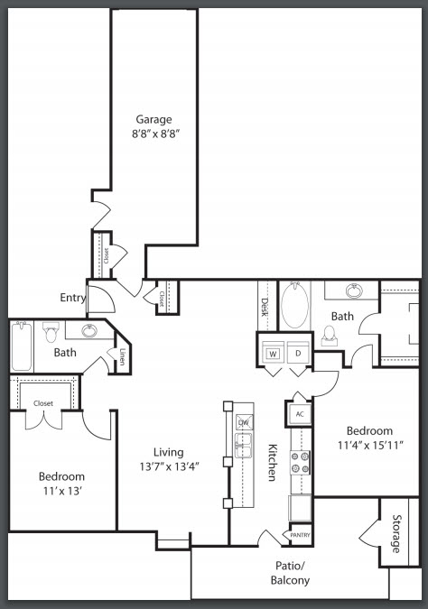 1,101 sq. ft. to 1,181 sq. ft. B2 floor plan