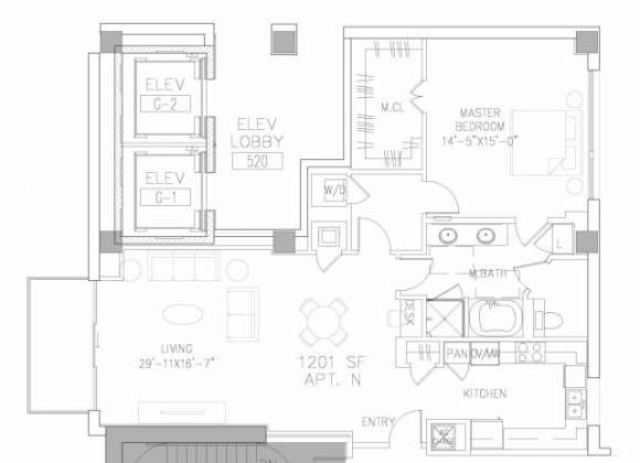 1,201 sq. ft. A5 floor plan