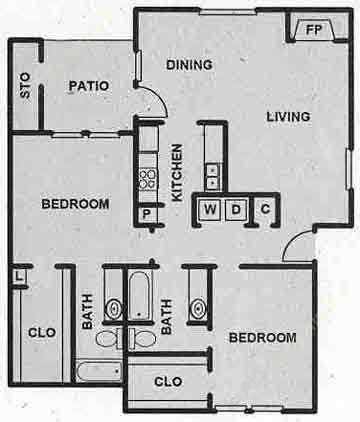 1,067 sq. ft. B2 floor plan