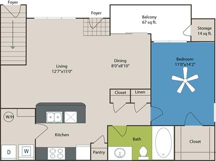 793 sq. ft. A3 floor plan