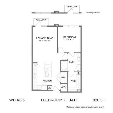 828 sq. ft. A6.3 floor plan