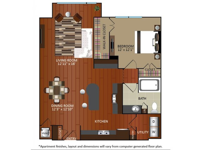 928 sq. ft. A5 floor plan