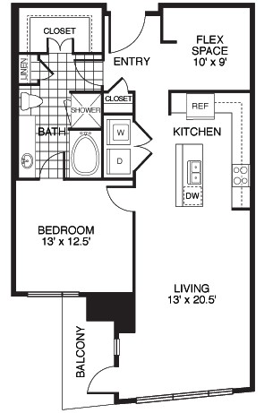 1,067 sq. ft. Confidence/Tower floor plan