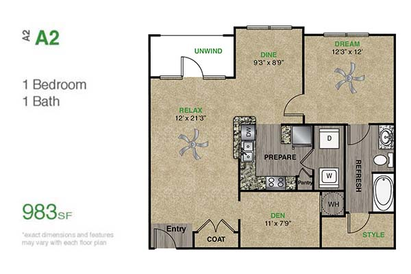 983 sq. ft. A2.1 floor plan