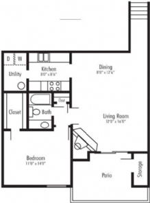 822 sq. ft. Yosemite floor plan