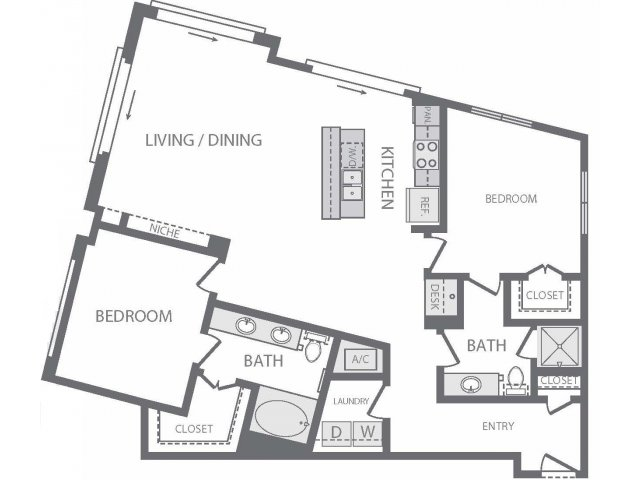 1,311 sq. ft. X floor plan
