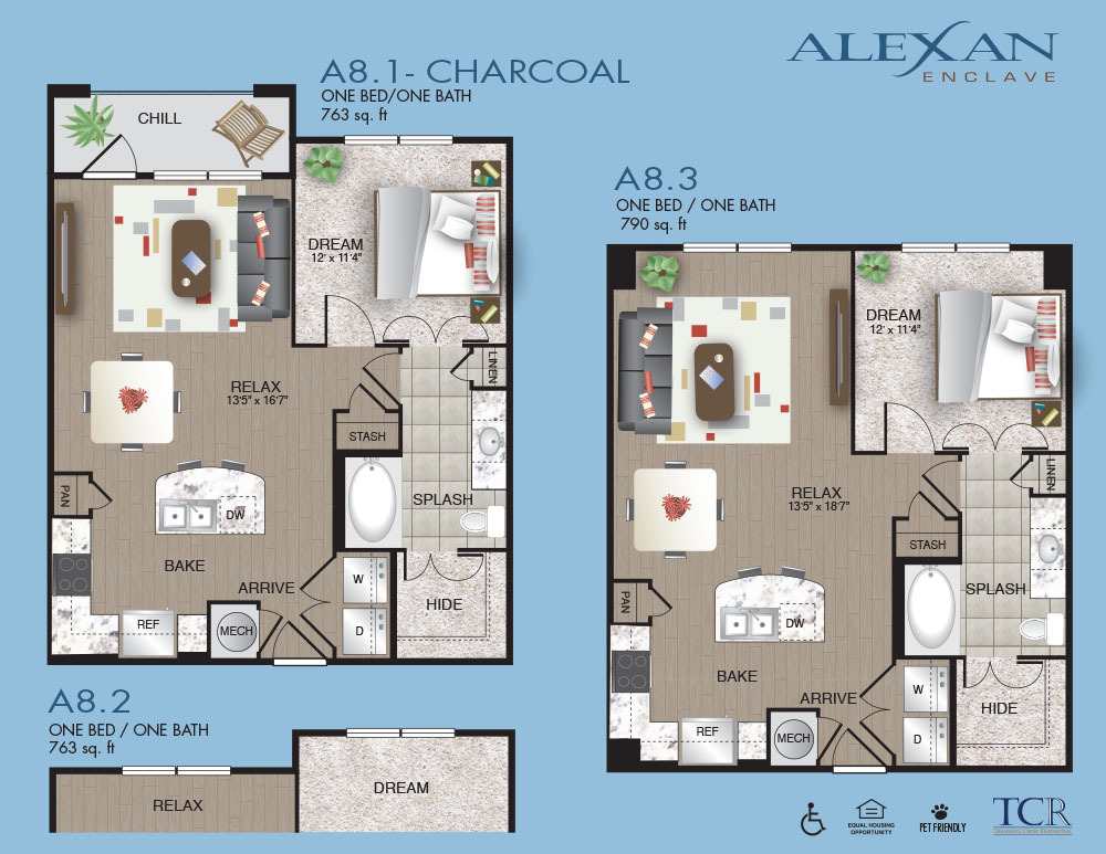763 sq. ft. A8.1 floor plan
