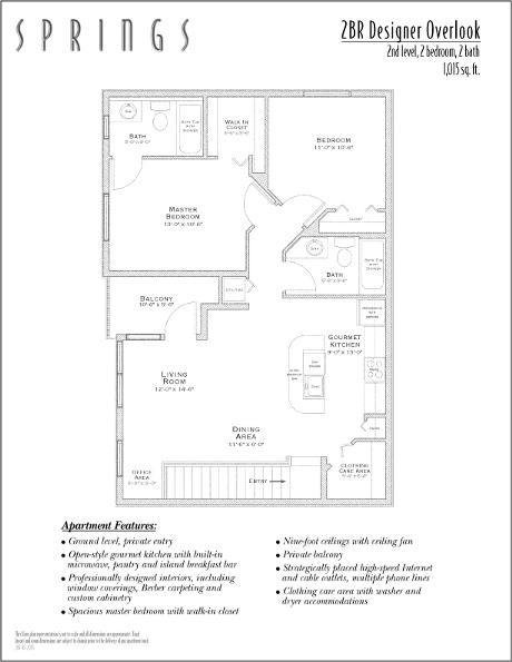 1,015 sq. ft. DESIGNER OVER floor plan