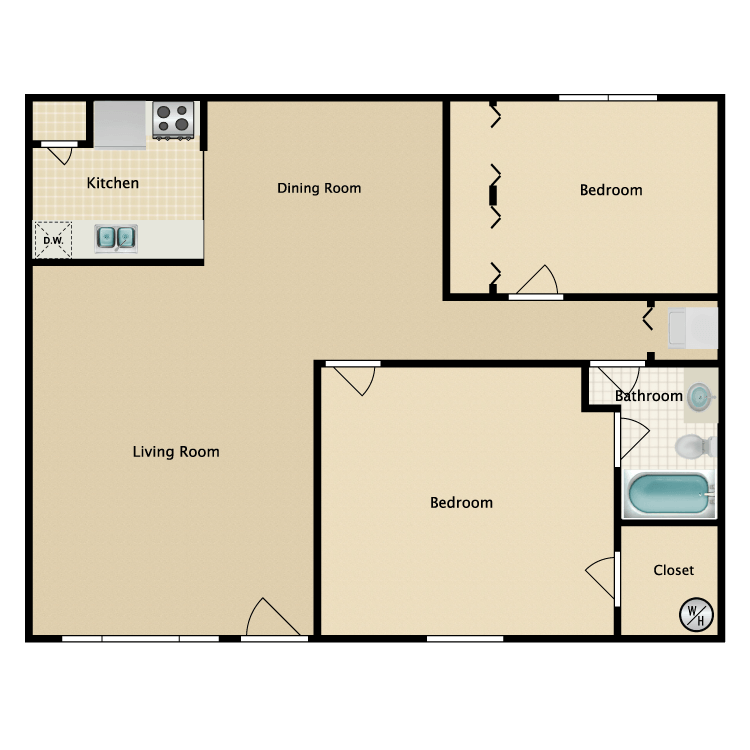 1,081 sq. ft. floor plan