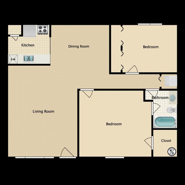 1,081 sq. ft. floor plan