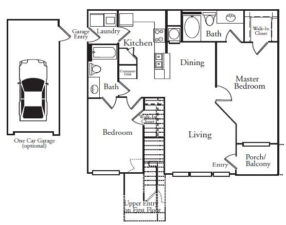 1,073 sq. ft. B1L floor plan