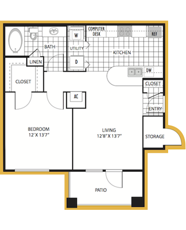 695 sq. ft. Milan floor plan