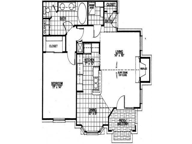 857 sq. ft. A2 floor plan
