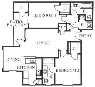 1,035 sq. ft. B1/B1r floor plan