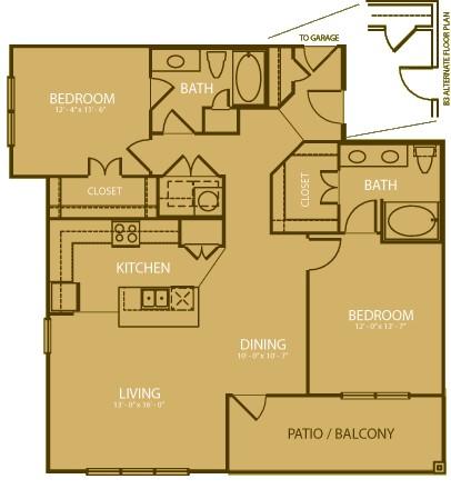 1,244 sq. ft. Medinah floor plan