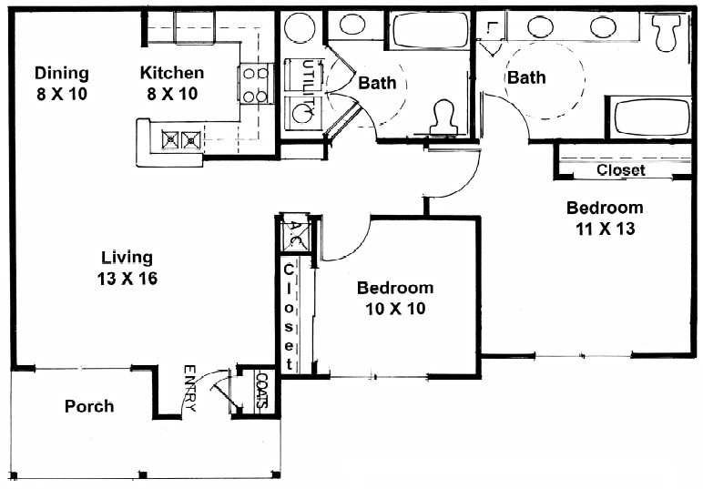 1,006 sq. ft. C floor plan