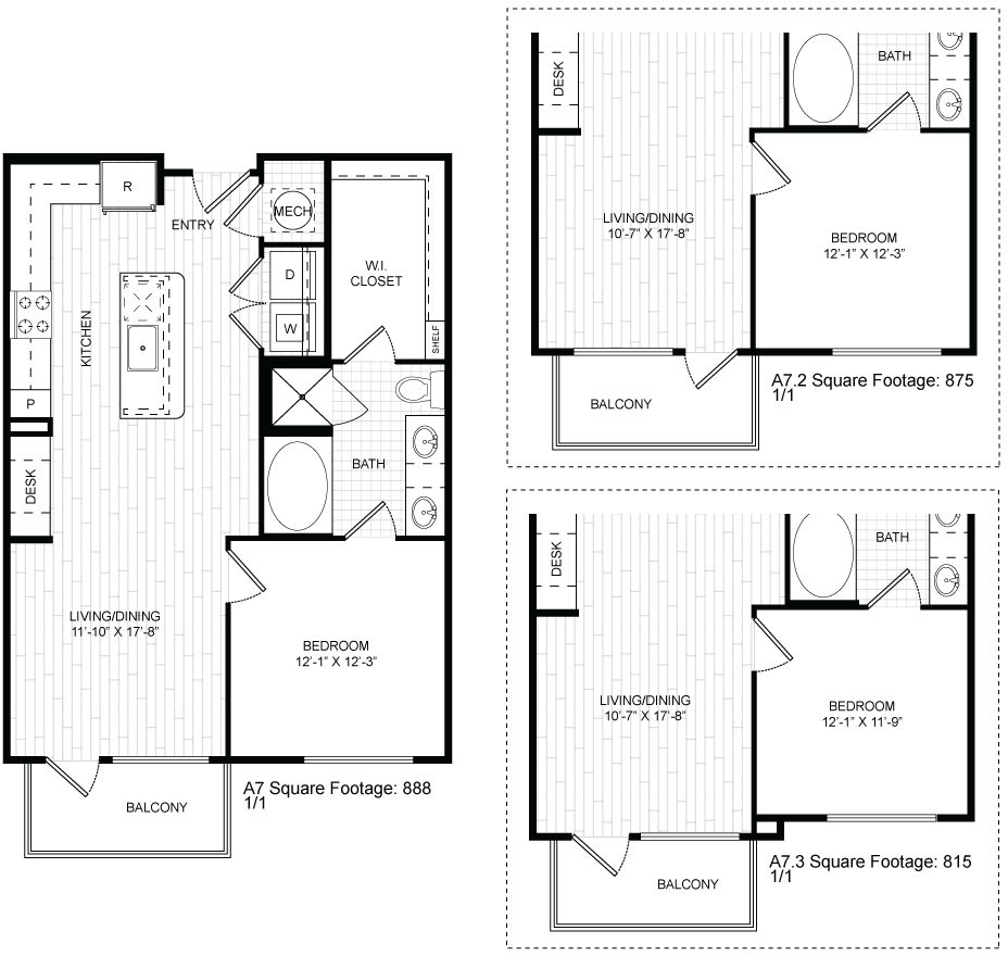 815 sq. ft. A7 floor plan