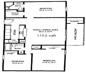 1,152 sq. ft. C1 floor plan