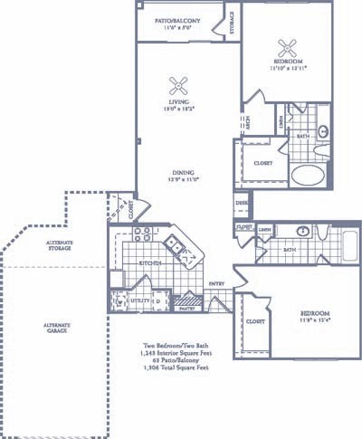 1,243 sq. ft. B5/B5G floor plan