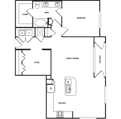 1,073 sq. ft. A6A floor plan