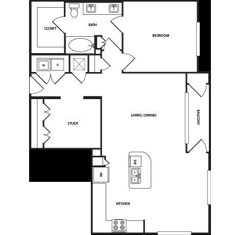 1,073 sq. ft. A6A floor plan