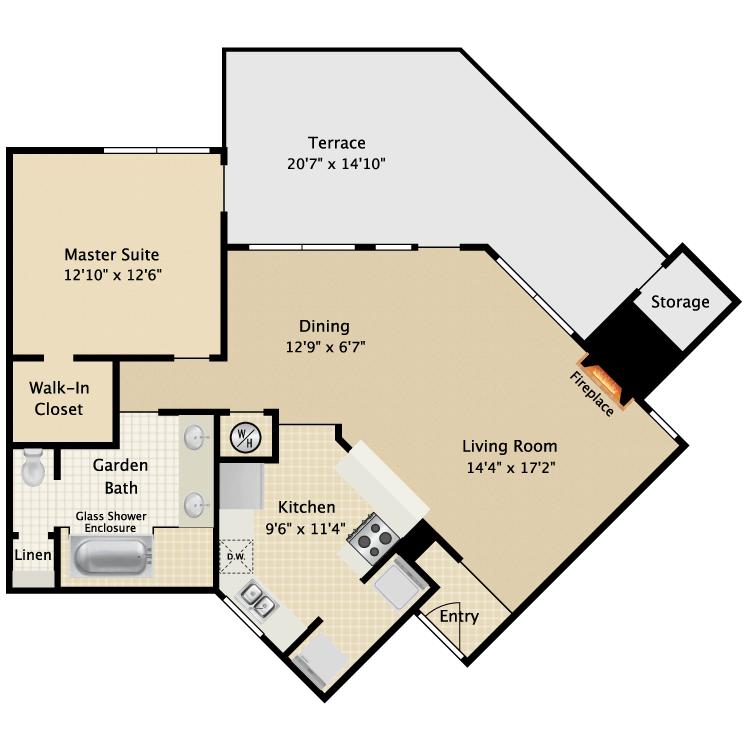 850 sq. ft. I A3 floor plan