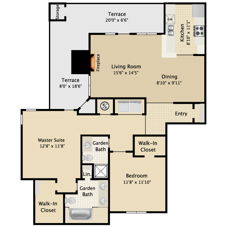 1,130 sq. ft. I B1 floor plan