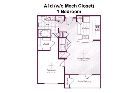 802 sq. ft. Kingston floor plan