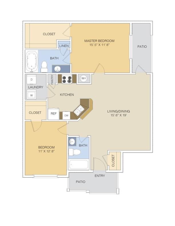 1,096 sq. ft. B1 LOWER floor plan