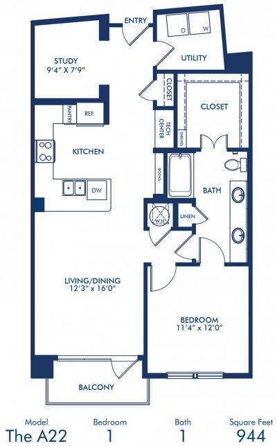 944 sq. ft. A22 floor plan