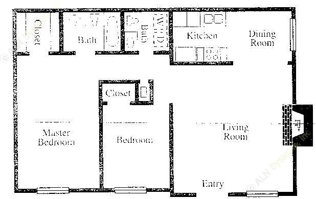 900 sq. ft. B2/B3 floor plan