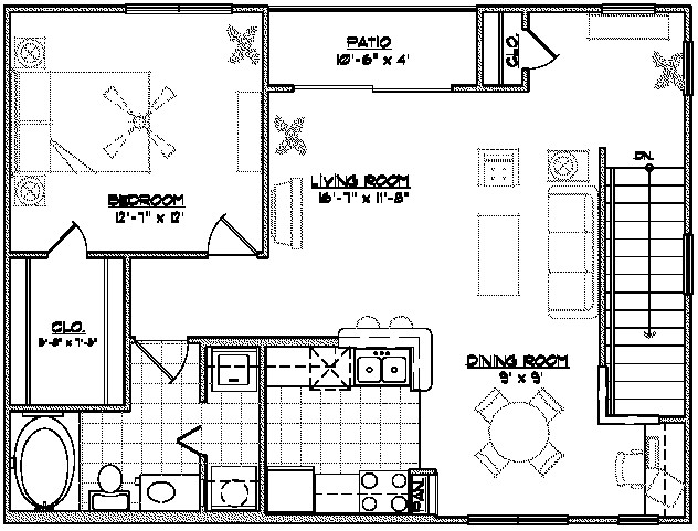 918 sq. ft. D2 floor plan