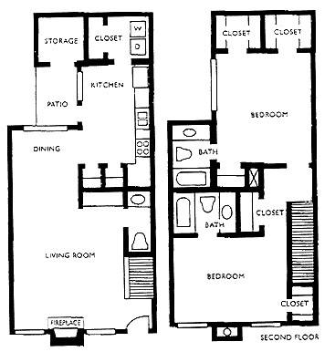 1,176 sq. ft. K floor plan