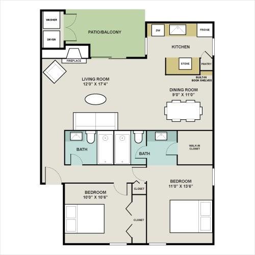 973 sq. ft. A floor plan