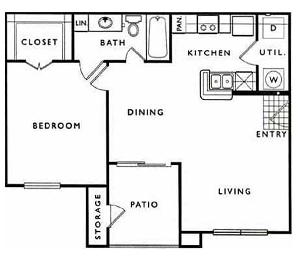 669 sq. ft. A floor plan