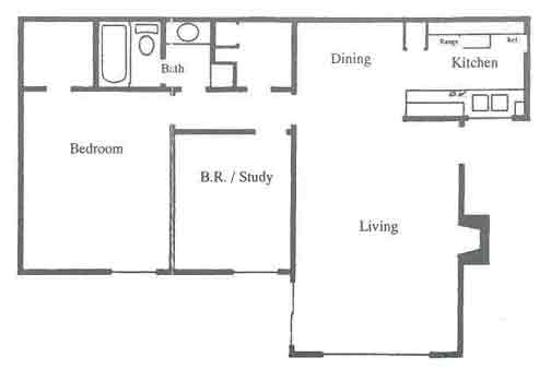 825 sq. ft. D1-D2 floor plan