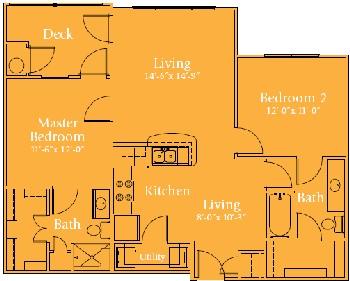 998 sq. ft. Sinatra/60% floor plan
