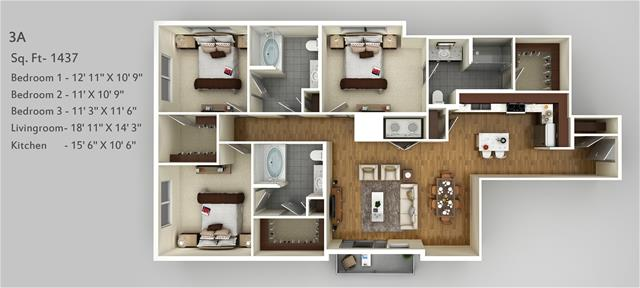 1,437 sq. ft. 3A floor plan