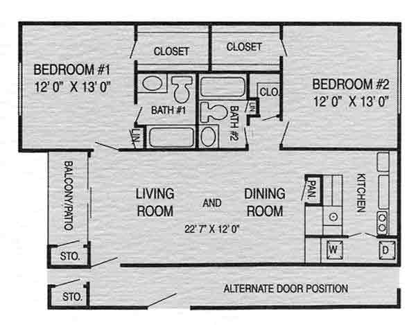 960 sq. ft. I floor plan