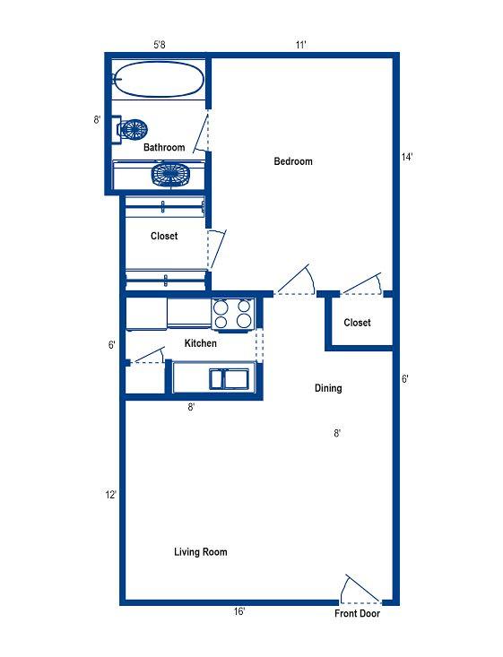 595 sq. ft. 1G floor plan