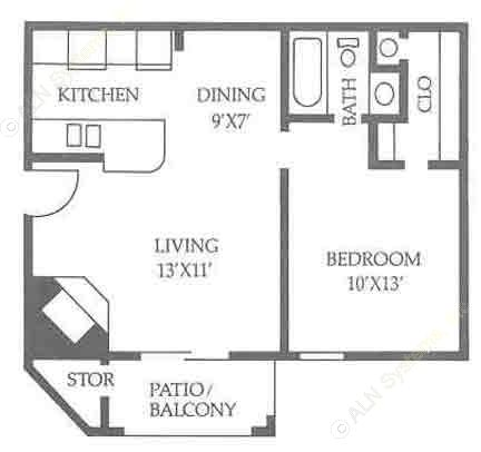 597 sq. ft. A2/50% floor plan