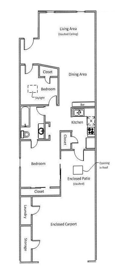 864 sq. ft. A floor plan
