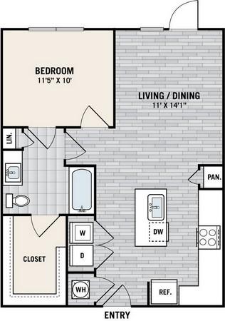 720 sq. ft. A3A floor plan