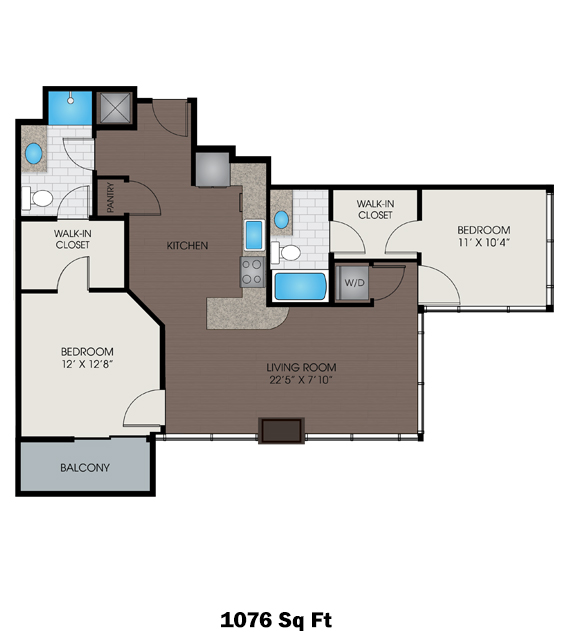 1,076 sq. ft. A3 floor plan