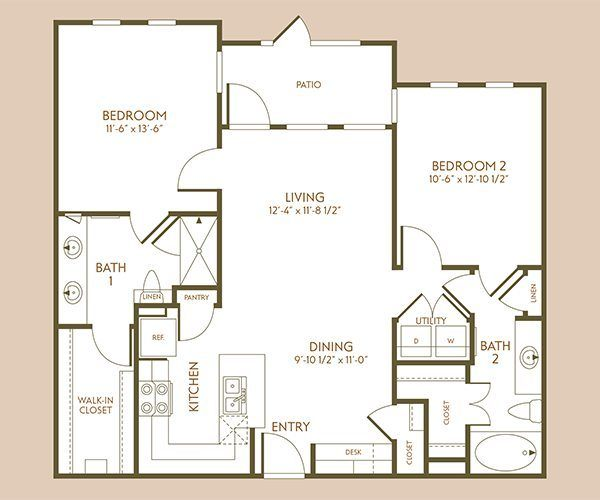 1,029 sq. ft. B1 floor plan