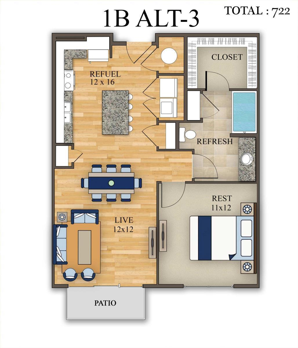 722 sq. ft. 1B Alt 3 floor plan