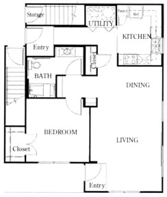 928 sq. ft. A3/50% floor plan
