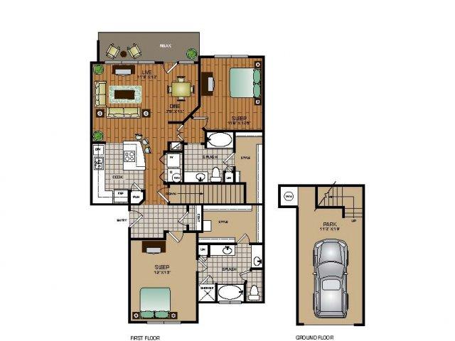 1,314 sq. ft. B1 TH floor plan
