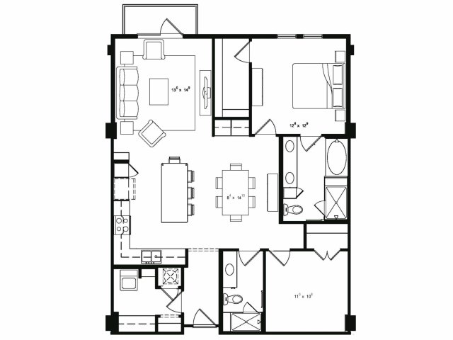 1,290 sq. ft. B3 floor plan